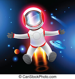 Vector Astronaut - A Vector Astronaut, vector illustration