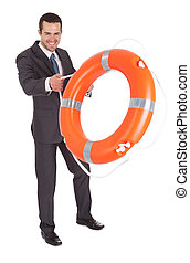 Young businessman with life buoy. Isolated on white