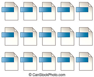 Digital File Format Icons - 15 blue icons with copy space...