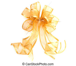 Yellow Satin gift bow. ribbon isolated on white