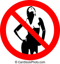Prohibitory road sign with nude woman figure
