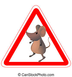 Warning road sign with a finny mouse