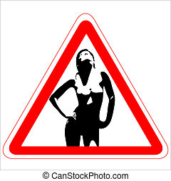 Warning road sign with nude woman`s figure