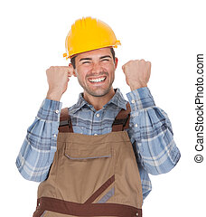 Excited worker wearing hard hat. Isolated on white