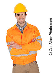 Portrait of worker wearing safety jacket