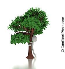 Pessoa, conceito, ambiental, árvore, Abraços,  3D