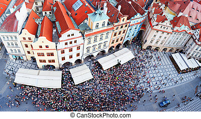 Prague, Czech Republic - Crowded Old Town square in Prague,...