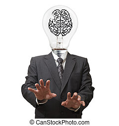 business man light bulb and pixel brain sign head as concept