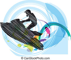Sketch of Jetski. Vector illustration