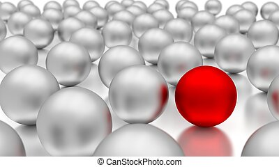 Standing out of the crowd. 3d metal balls.