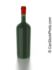 3d red wine bottle filled with red wine.