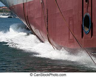 Launching  - launching new ship in shipyard