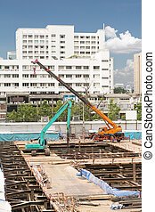 two crane car at construction site