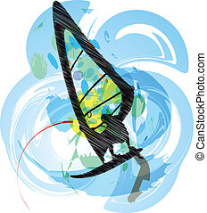 Windsurfing Vector illustration
