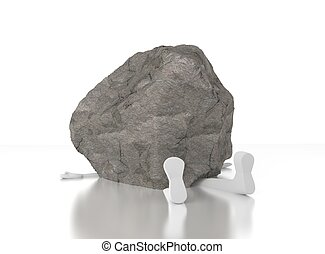 3d person crushed by a heavy rock. Heavy burden. Too much....