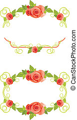 Frames with blooming roses