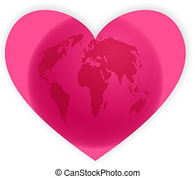 heart globe - pink heart shape with world map isolated on...