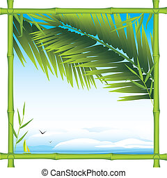 Bamboo frame with palm branches