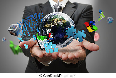 """business man hand shows the world of business as concept""""Elements of this image furnished by NASA"""""""