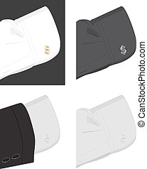 Cuff shirt with trendy cufflinks Vector illustration