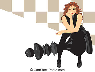 Woman sitting on the king chess - Beautiful woman sitting on...