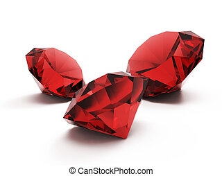Rubies isolated on white background.