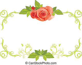 Ornamental frame with roses. Vector illustration