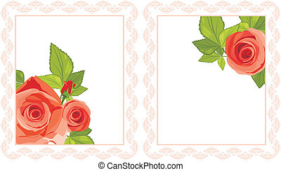 Decorative frames with red roses