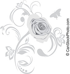 Decorative element with rose. Vector illustration