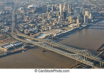 Aerial view of downtown New Orleans - This is an aerial view...