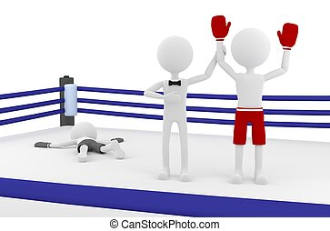 3d boxer person winning a match in a boxing ring with a...