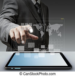 touch virtual screen computer interface as concep - business...