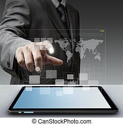 Tacto, virtual, pantalla, computadora, interfaz, concep