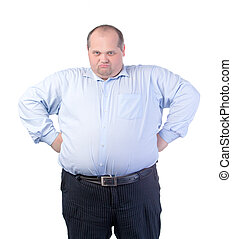 Happy Fat Man in a Blue Shirt, isolated