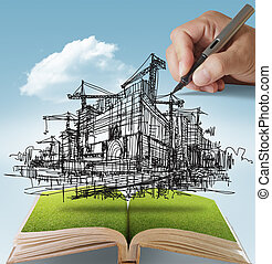 building and construction - open book of hand draws building...