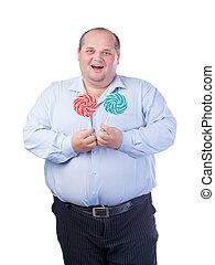 Fat Man in a Blue Shirt, Eating a Lollipop