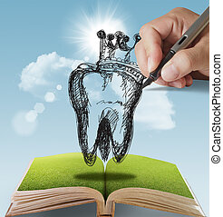 hand drawn Tooth and Crown - open book of hand drawn Tooth...