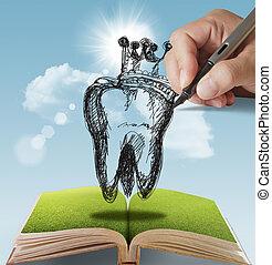 mão, desenhado, dente, coroa
