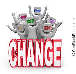 Mudança, equipe, pessoas, inove, evoluir, melhorar,...