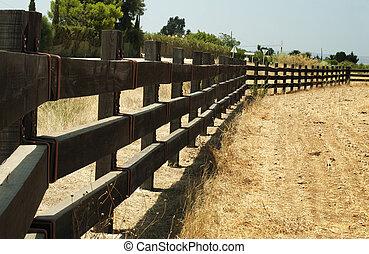 de madera, cerca, rancho