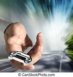 pixel car key icon - close up of hand offers pixel car key...
