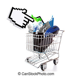 online shopping concept on white background