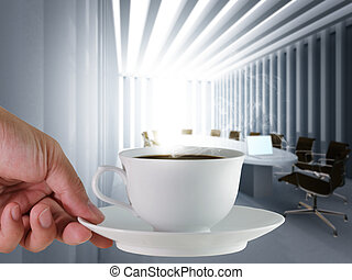 coffee cup and board room