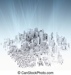 image of 3d render of city scape and light background