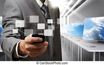 touch screen mobile phone - business man holds touch screen...