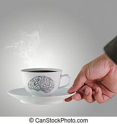 mano, taza, café, cerebro, Bosquejo, concepto