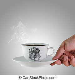 a cup of coffee and heart as concept
