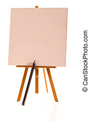 Painting - Painters easel with huge pencil and blank linen...