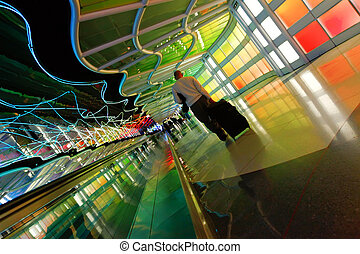 Modern colorful architectural tunnel in Chicago airport. -...