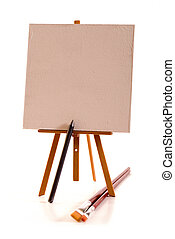 Painters equipment - The easel with blank canvas and huge...